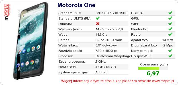 Dane telefonu Motorola One