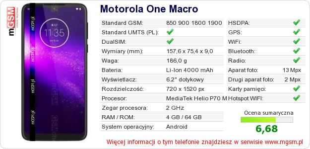 Dane telefonu Motorola One Macro