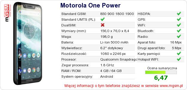 Dane telefonu Motorola One Power
