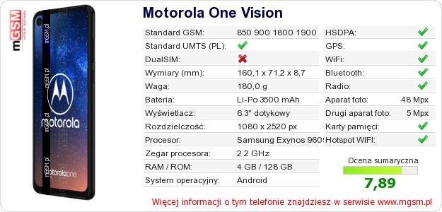 Dane telefonu Motorola One Vision