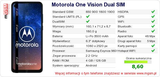 Dane telefonu Motorola One Vision Dual SIM