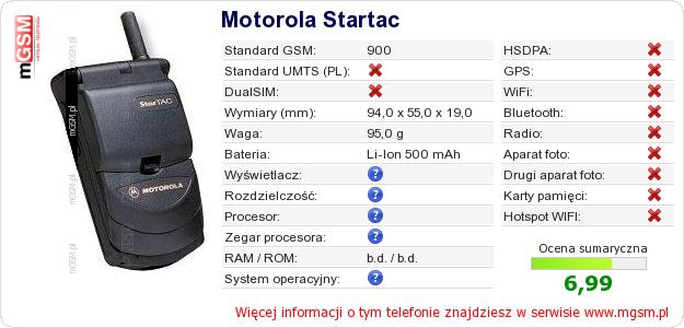 Dane telefonu Motorola Startac