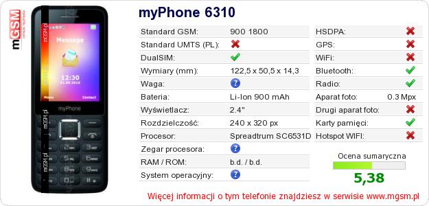 Dane telefonu myPhone 6310