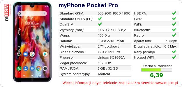 Dane telefonu myPhone Pocket Pro