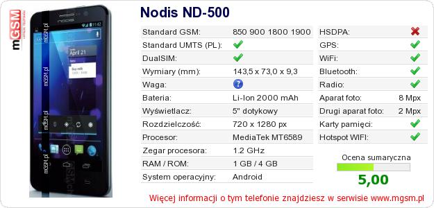 Dane telefonu Nodis ND-500