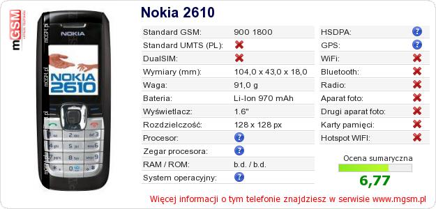 Dane telefonu Nokia 2610