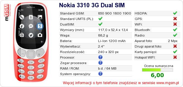 Dane telefonu Nokia 3310 3G Dual SIM