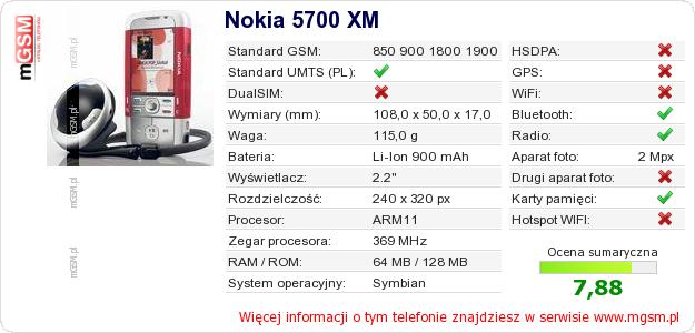 Dane telefonu Nokia 5700 XM