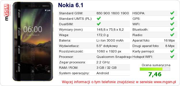 Dane telefonu Nokia 6.1
