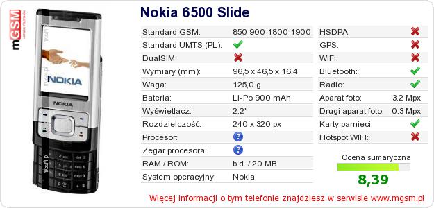 Dane telefonu Nokia 6500 Slide