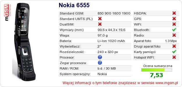 Dane telefonu Nokia 6555