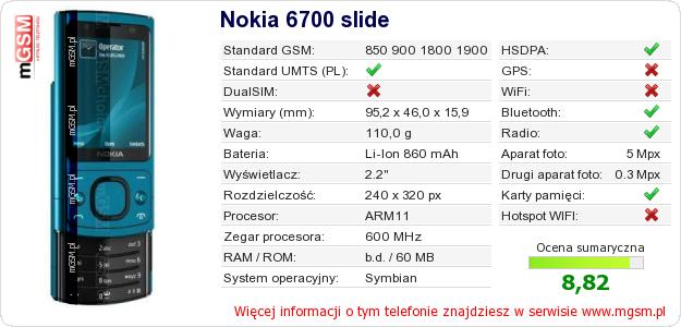 Dane telefonu Nokia 6700 slide
