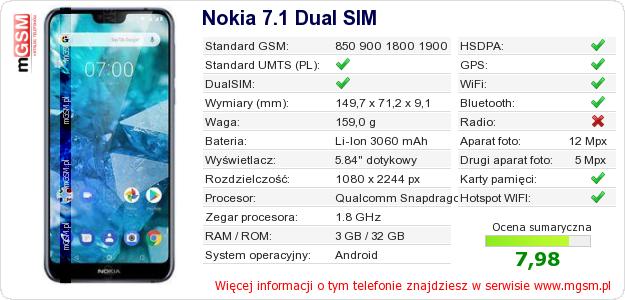 Dane telefonu Nokia 7.1 Dual SIM