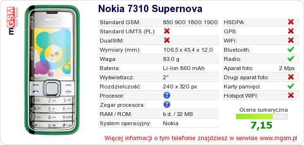 Dane telefonu Nokia 7310 Supernova