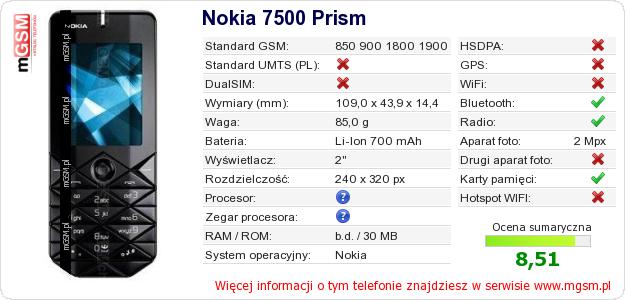 Dane telefonu Nokia 7500 Prism