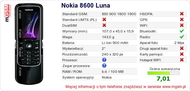 Dane telefonu Nokia 8600 Luna