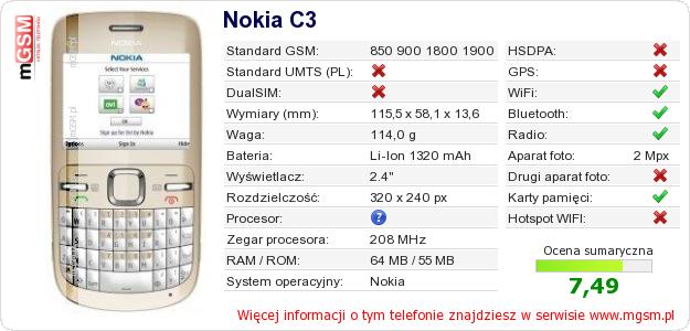 Dane telefonu Nokia C3