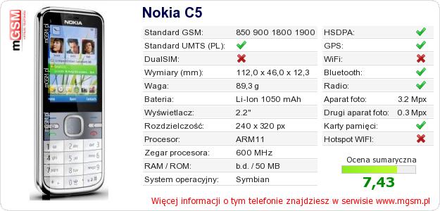 Dane telefonu Nokia C5