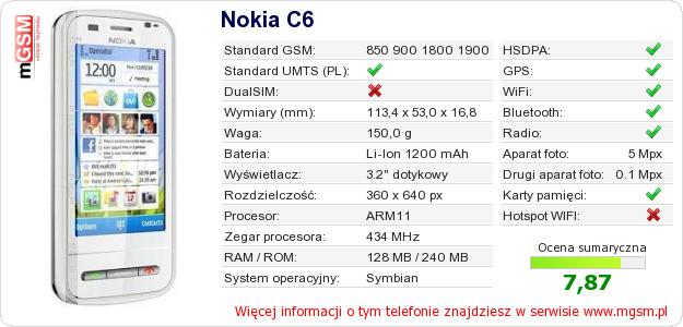 Dane telefonu Nokia C6