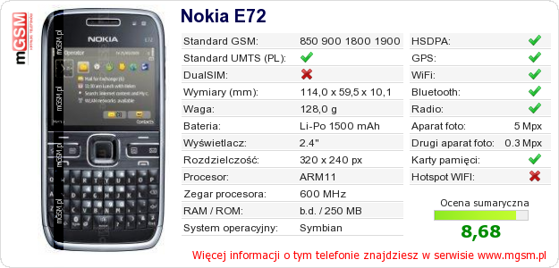 Dane telefonu Nokia E72