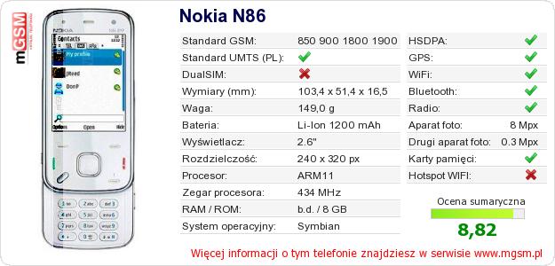 Dane telefonu Nokia N86