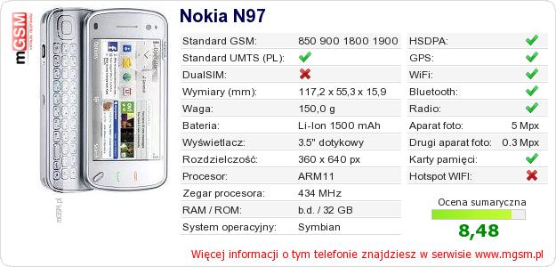 Dane telefonu Nokia N97