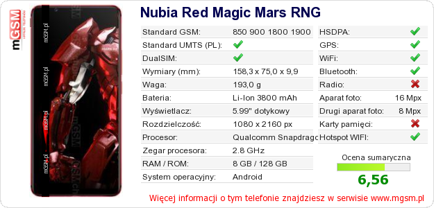 Dane telefonu Nubia Red Magic Mars RNG