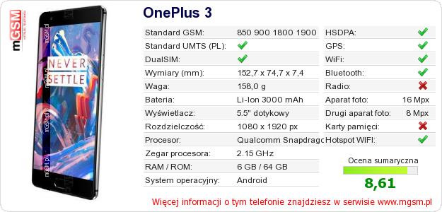 Dane telefonu OnePlus 3