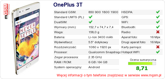 Dane telefonu OnePlus 3T