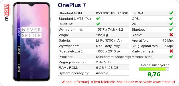 Dane telefonu OnePlus 7