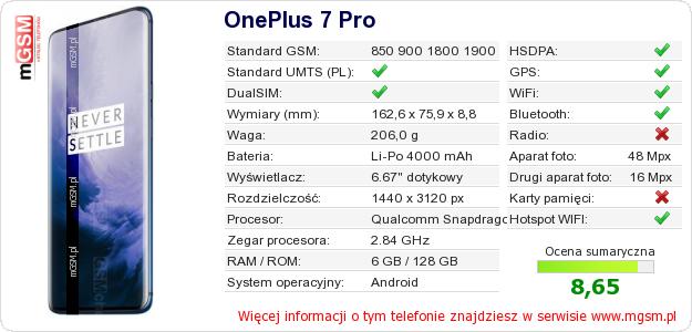 Dane telefonu OnePlus 7 Pro