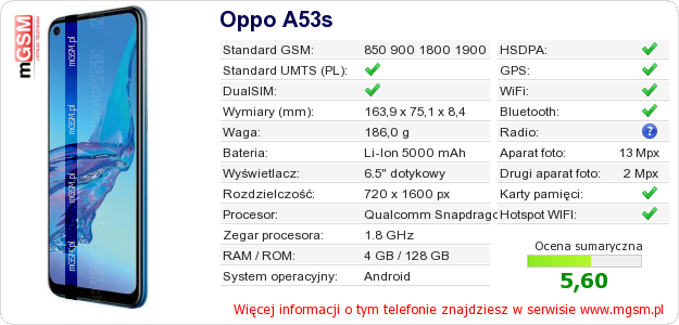 Dane telefonu Oppo A53s