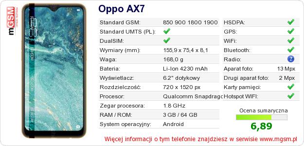 Dane telefonu Oppo AX7