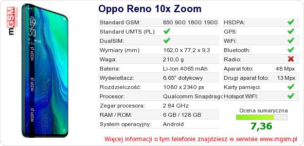 Dane telefonu Oppo Reno 10x Zoom
