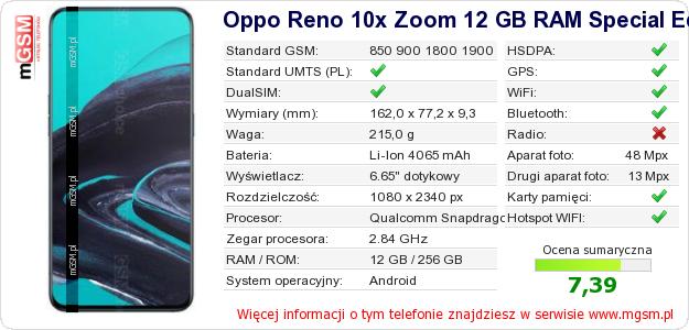 Dane telefonu Oppo Reno 10x Zoom 12 GB RAM Special Edition