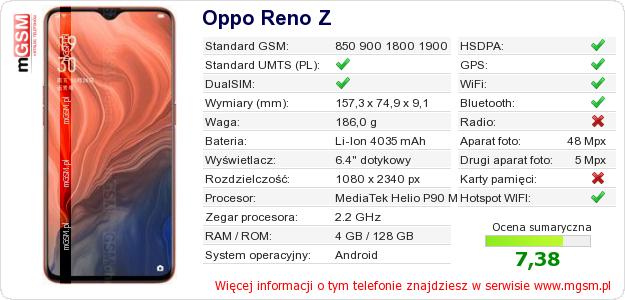 Dane telefonu Oppo Reno Z