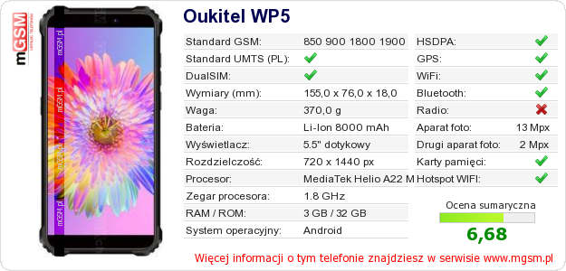 Dane telefonu Oukitel WP5