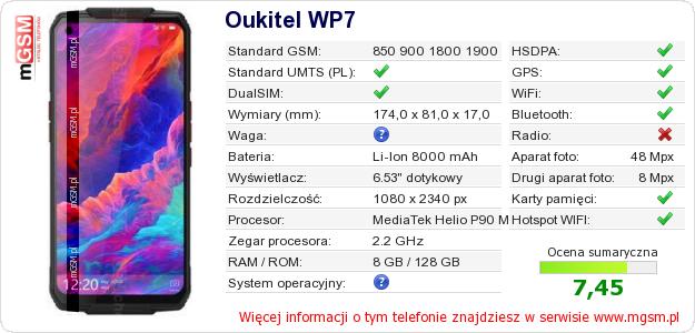 Dane telefonu Oukitel WP7