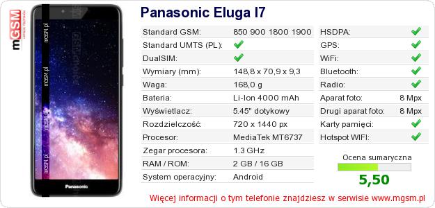 Dane telefonu Panasonic Eluga I7