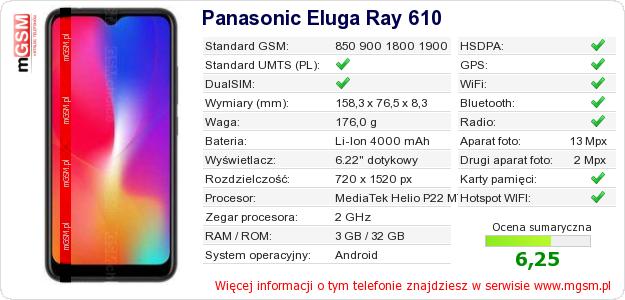Dane telefonu Panasonic Eluga Ray 610