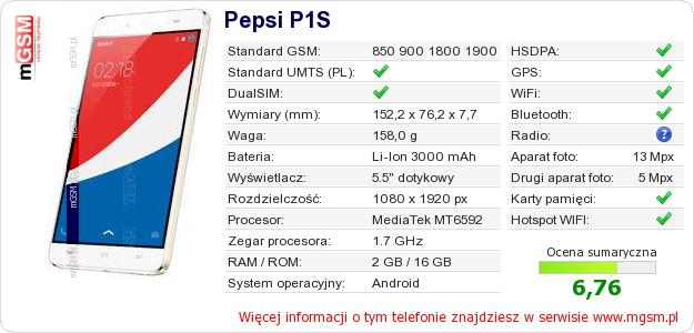 Dane telefonu Pepsi P1S