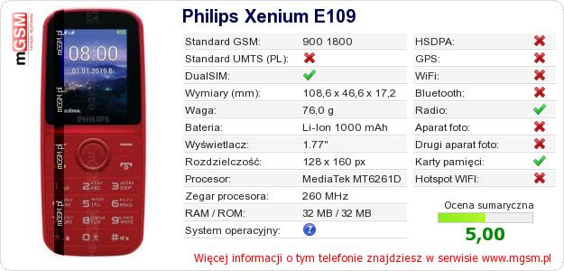 Dane telefonu Philips Xenium E109