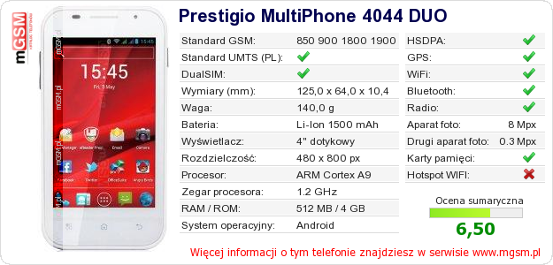 Dane telefonu Prestigio MultiPhone 4044 DUO