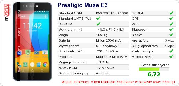 Dane telefonu Prestigio Muze E3