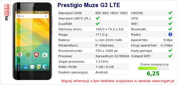 Dane telefonu Prestigio Muze G3 LTE