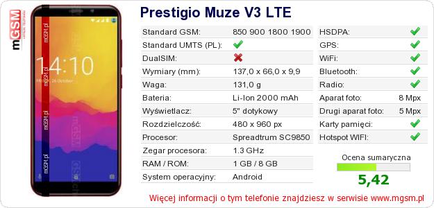 Dane telefonu Prestigio Muze V3 LTE