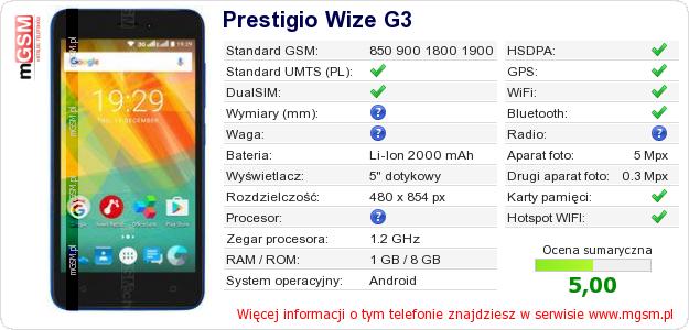 Dane telefonu Prestigio Wize G3