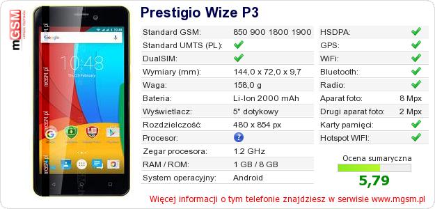 Dane telefonu Prestigio Wize P3