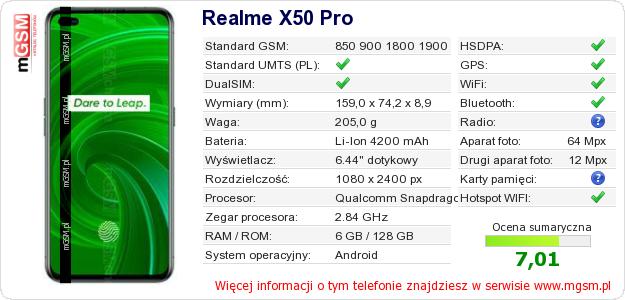 Dane telefonu Realme X50 Pro