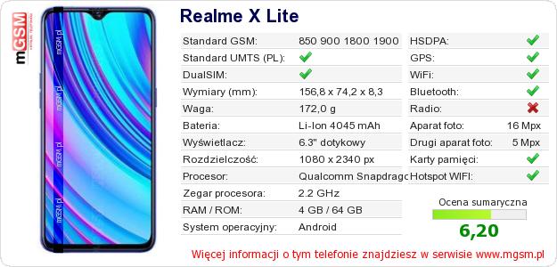 Dane telefonu Realme X Lite